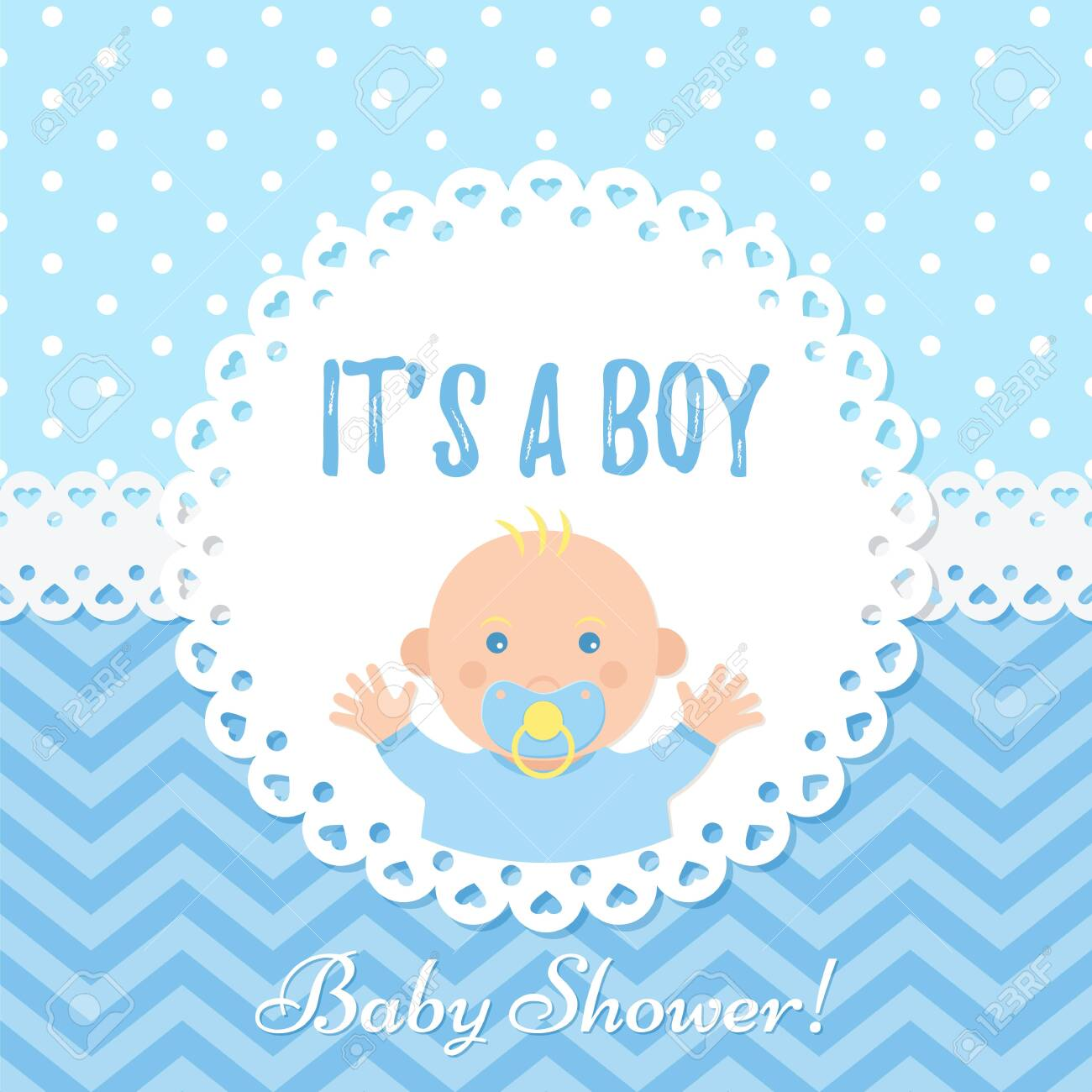 Baby Boy Card Baby Shower Boy Design Cute Blue Banner Vector Royalty Free Cliparts Vectors And Stock Illustration Image 122687701