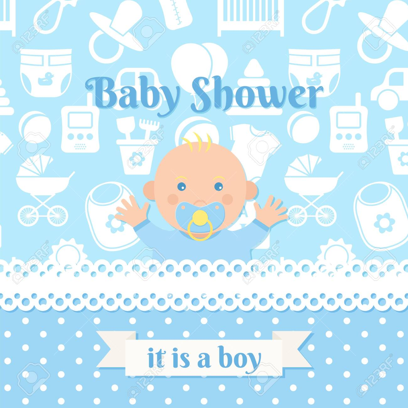 Baby Shower Boy Invite Card Vector Baby Banner Blue Design