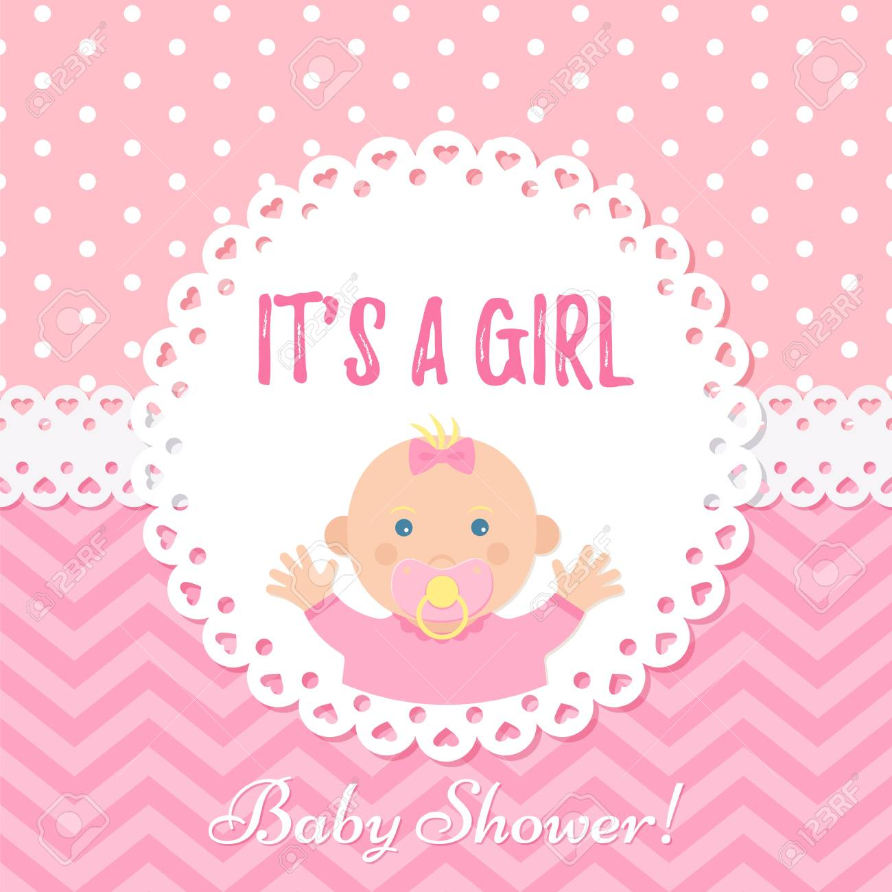 Baby Girl Card Baby Shower Girl Design Cute Pink Banner Vector Royalty Free Cliparts Vectors And Stock Illustration Image 122687704