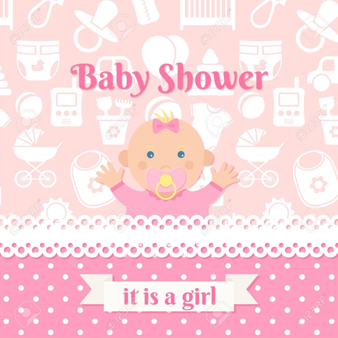 Baby Shower Girl Invite Card Vector Baby Banner Pink Design