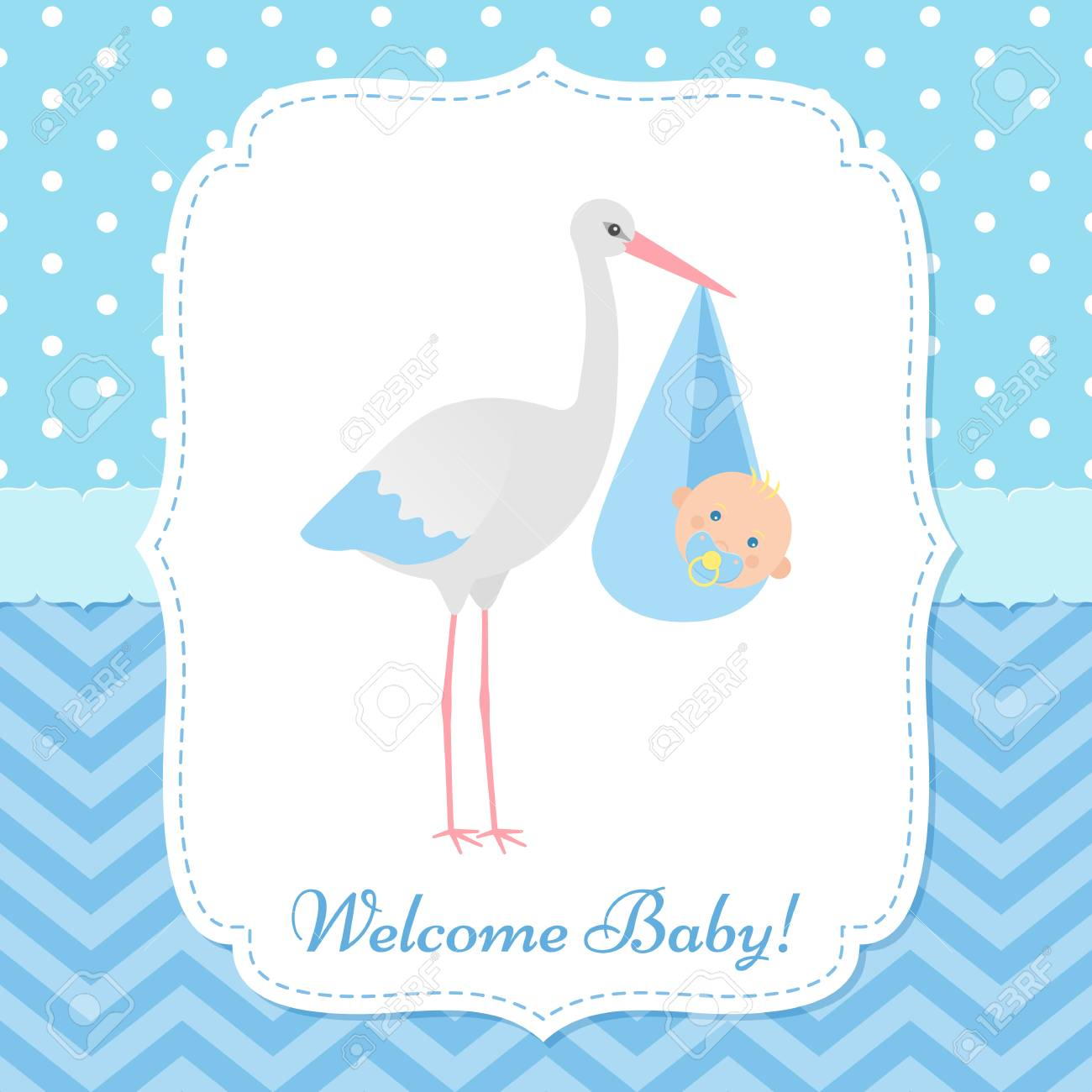 Baby Shower Invitation Card Vector Boy Banner Welcome