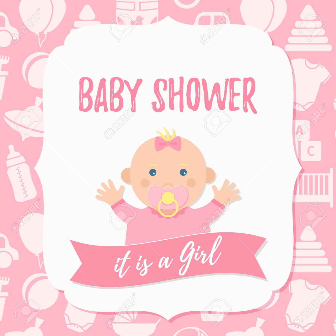 Baby Shower Invite Card Vector Girl Design Pink Banner