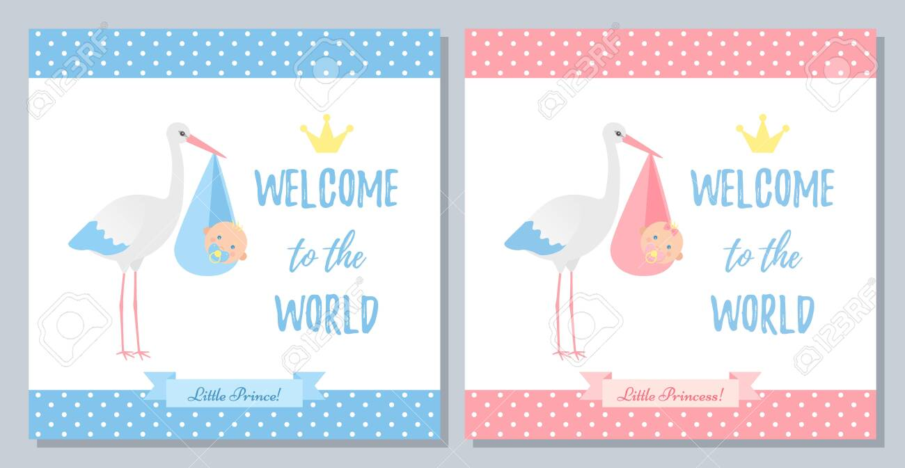 Baby Shower Invitation Card Vector Baby Boy Girl Banner Welcome