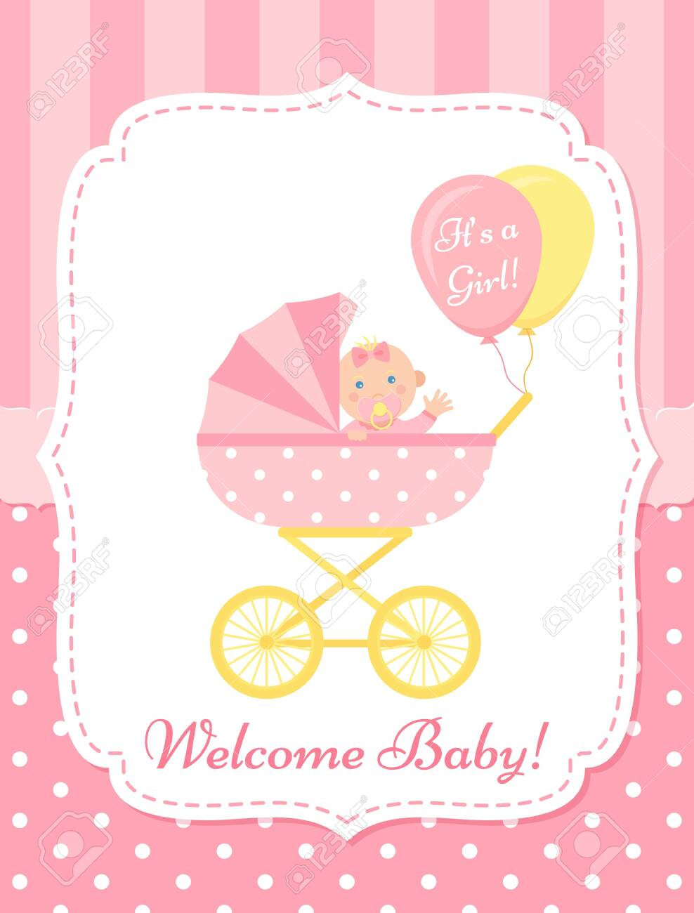 Baby Girl Card Vector Baby Shower Invite Banner Pink Design Royalty Free Cliparts Vectors And Stock Illustration Image 122953471