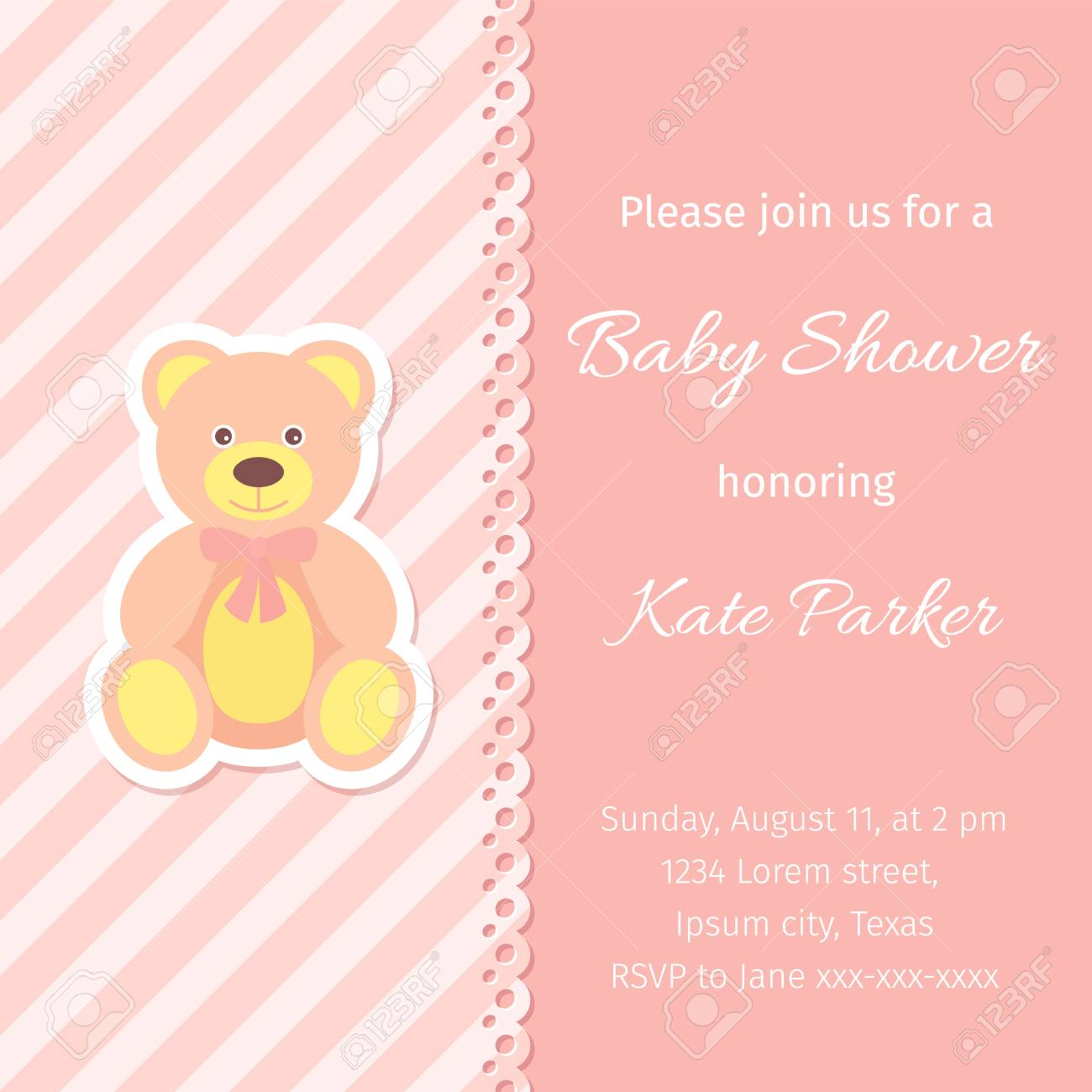Baby Shower Card Vector Baby Girl Invitation Banner Birth Royalty Free Cliparts Vectors And Stock Illustration Image 122881542