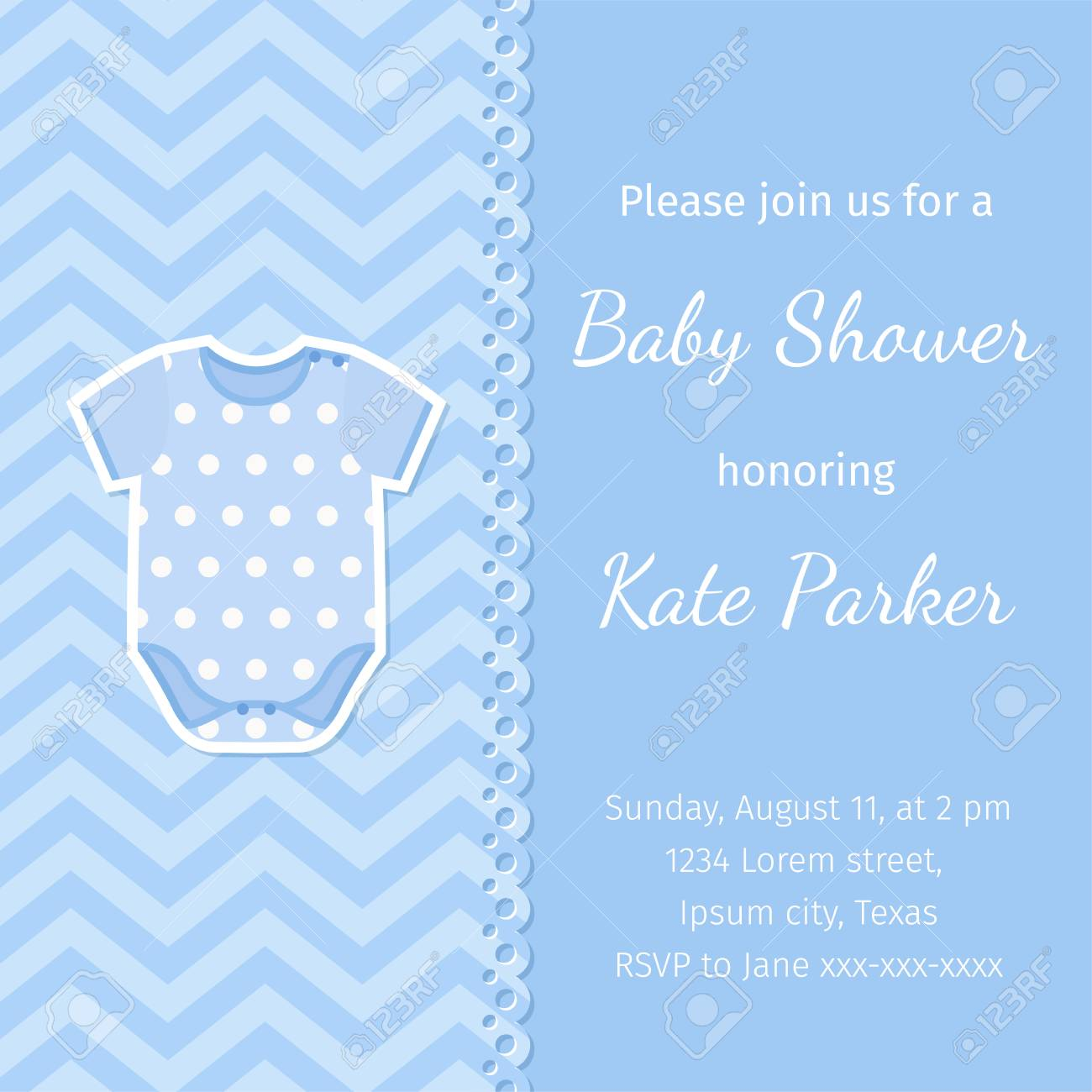 Baby Shower Banner Vector Baby Boy Invitation Card Birth Party
