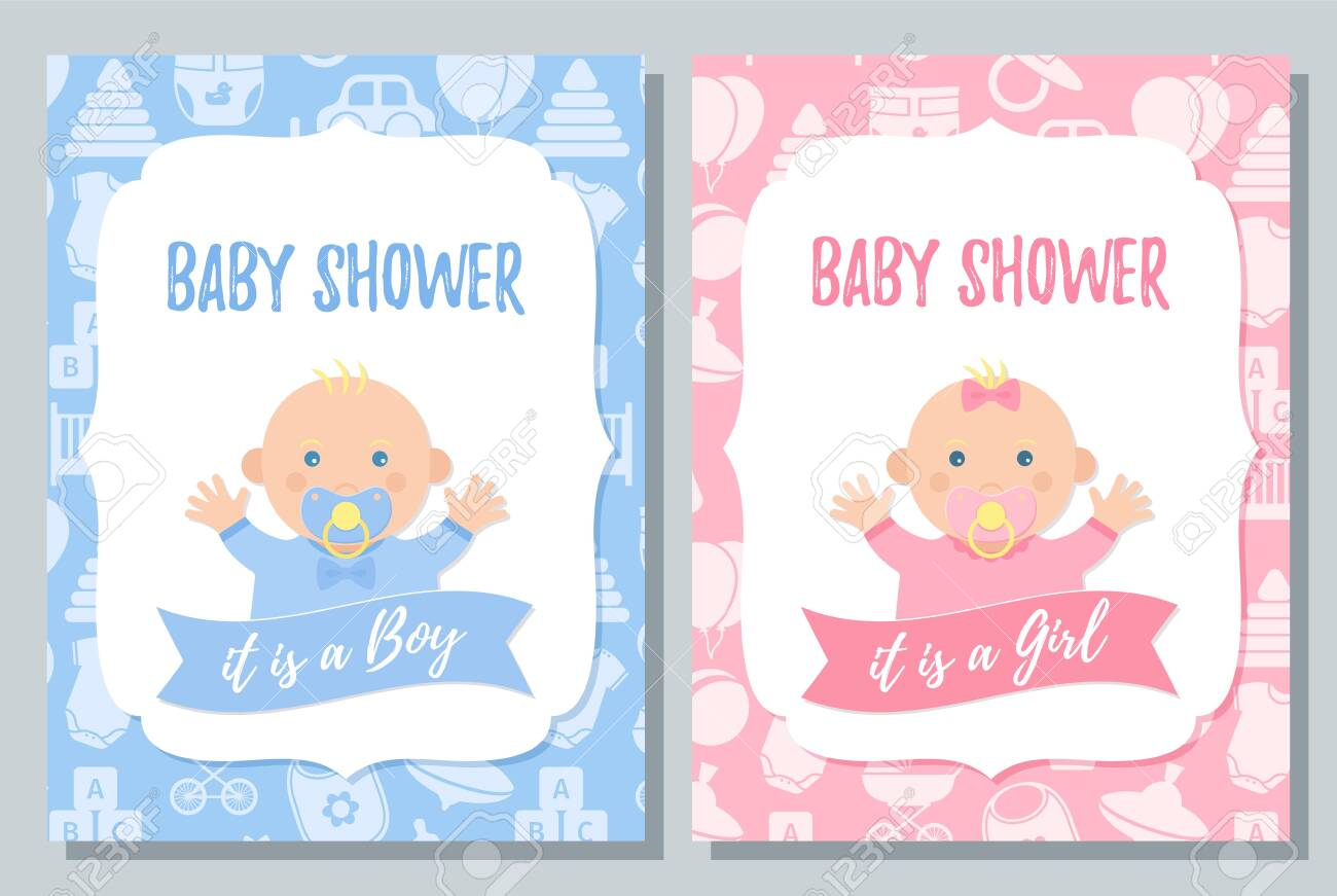 Baby Shower Card Vector Baby Boy Girl Invite Design Pink Royalty Free Cliparts Vectors And Stock Illustration Image 124442121