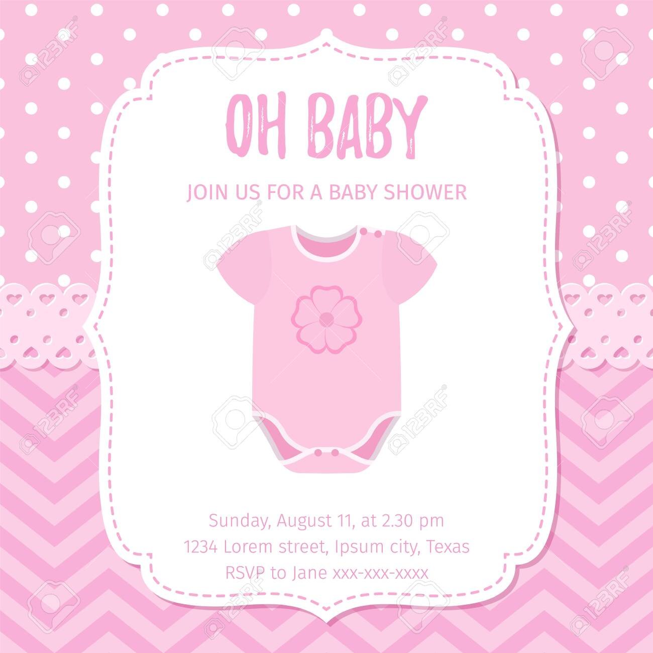Baby Shower Invitation Vector Baby Girl Card Welcome Template Royalty Free Cliparts Vectors And Stock Illustration Image 124442125