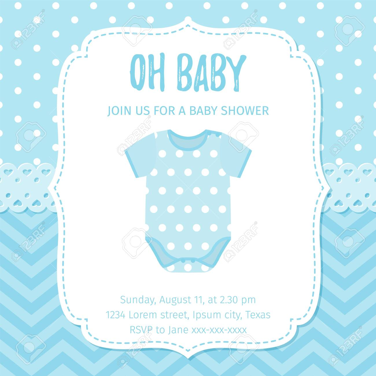 Baby Shower Invitation Vector Baby Boy Card Welcome Template