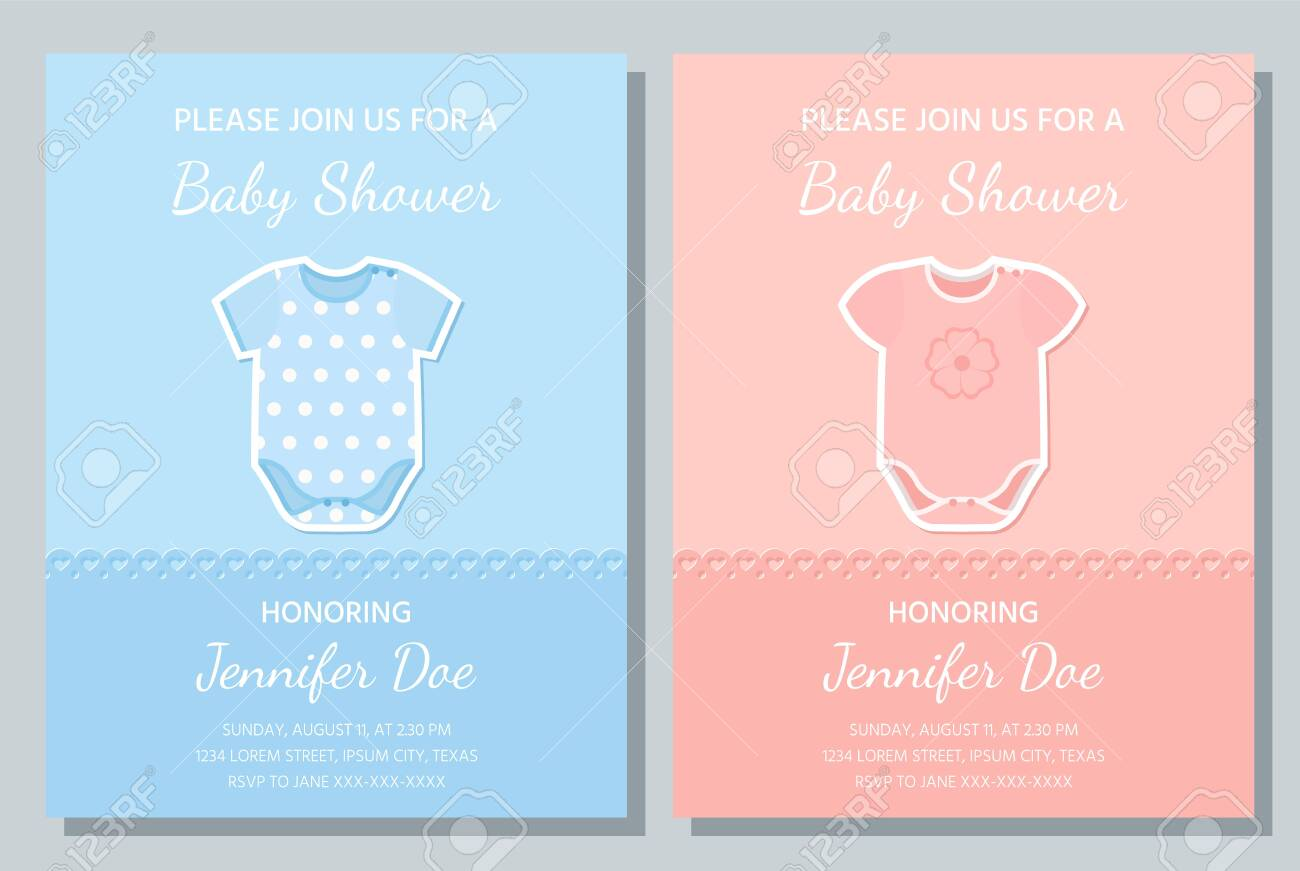 Baby Boy Girl Card Vector Baby Shower Invite Welcome Template
