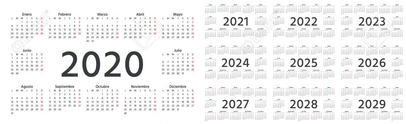 Spanish Calendar 2022.Calendar Spanish 2020 2021 2022 2023 2024 2025 2026 2027 Royalty Free Cliparts Vectors And Stock Illustration Image 130229453