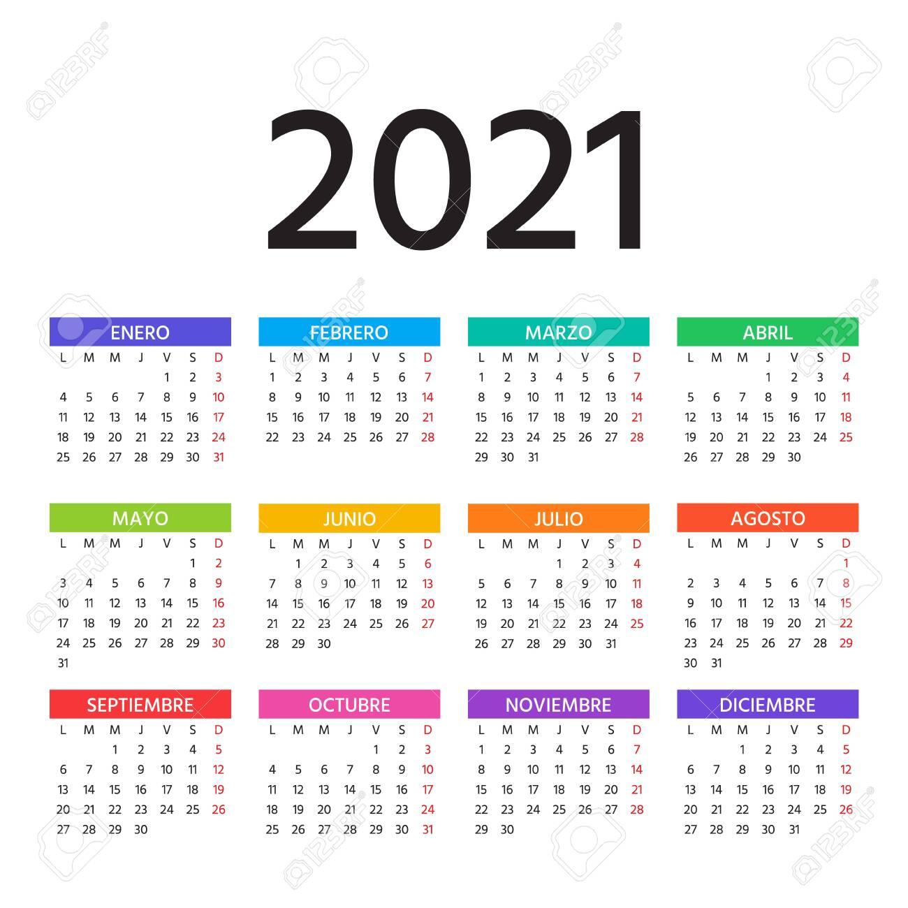 Spanish Calendar 20 Year. Vector. Week Starts Monday. Spain ...
