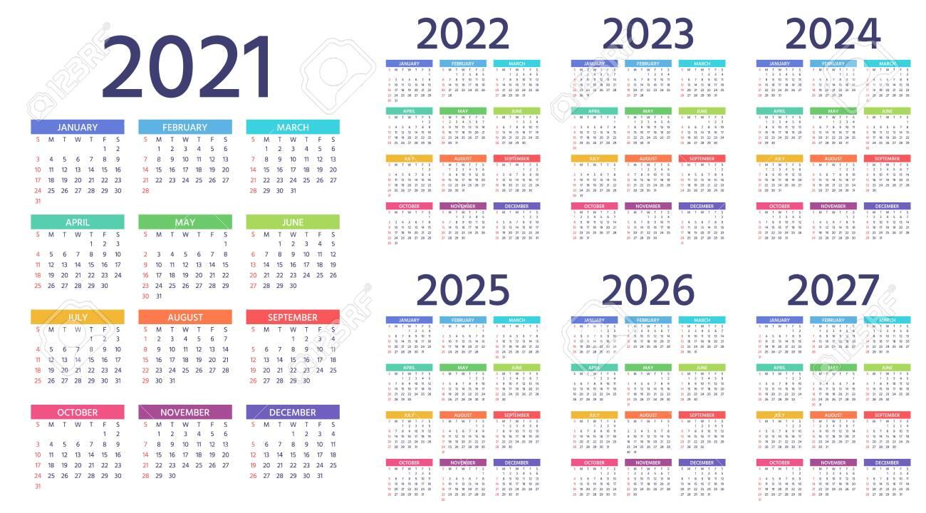 2022 2023 Pocket Calendar.Calendar 2021 2022 2023 2024 2025 2026 2027 Years Week Royalty Free Cliparts Vectors And Stock Illustration Image 146628684