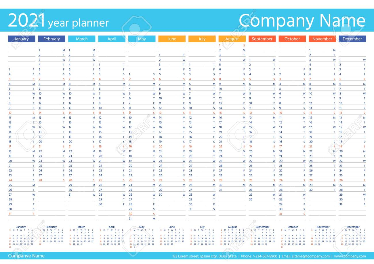 2021 Year Planner Calendar Vector Wall Calender Template Week Royalty Free Cliparts Vectors And Stock Illustration Image 153623952