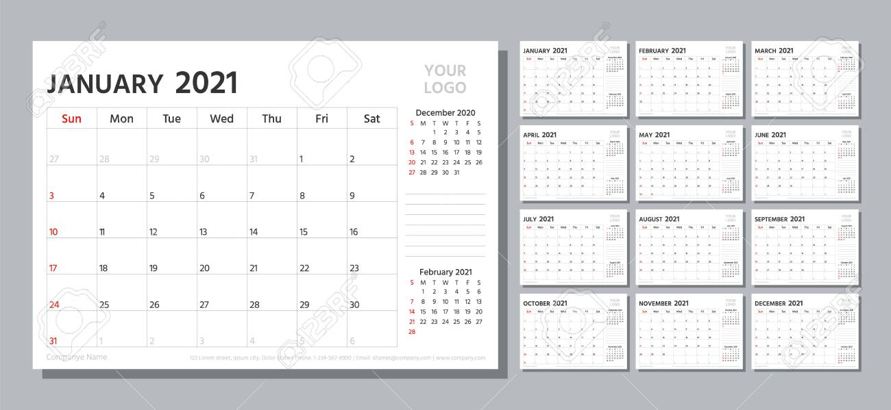 Planner 2021. Week starts Sunday. Calendar template. Vector. Yearly stationery organizer. Table schedule grid. Calender layout with 12 month. Horizontal monthly corporate diary. Simple illustration. - 156612109
