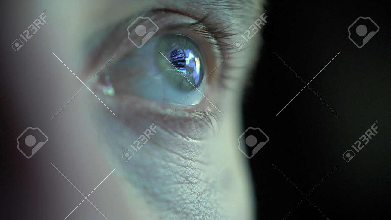 Eye Looking at Computer Screen Programming Hacker Code Reflecting in Eyeball - 165619885