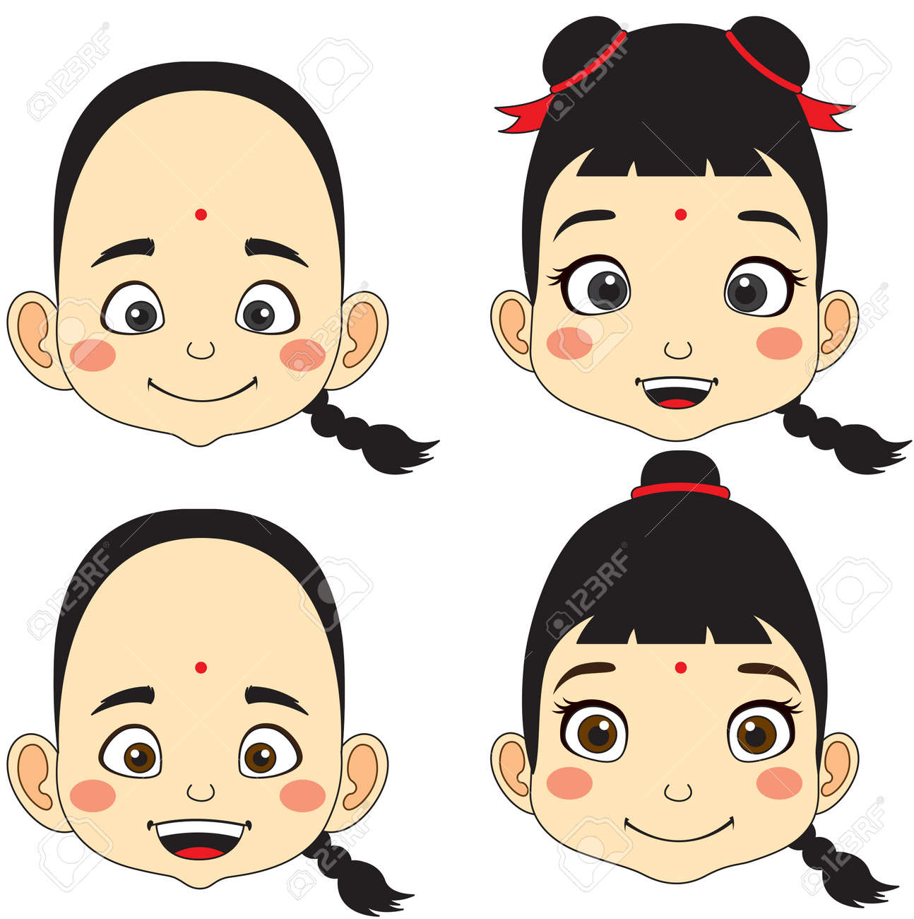 Chinese. Cartoon Face Boy and girl vector illustration - 125940686