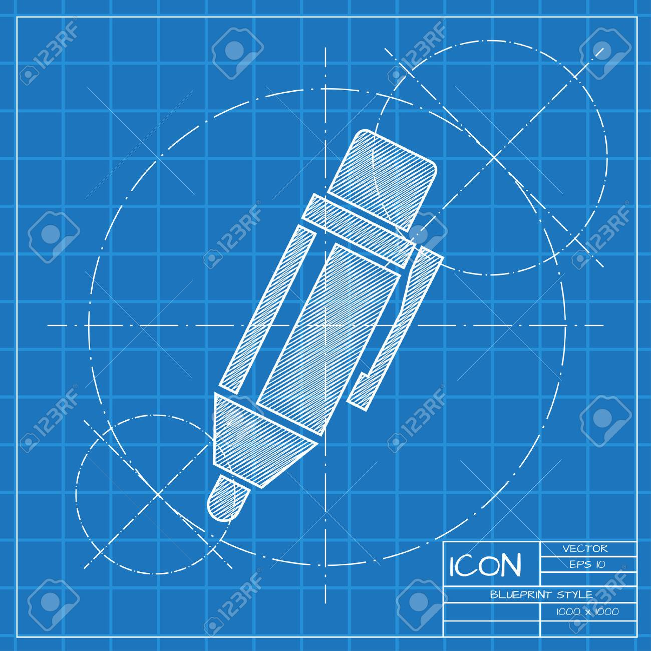 vector blueprint pen icon engineer and architect background