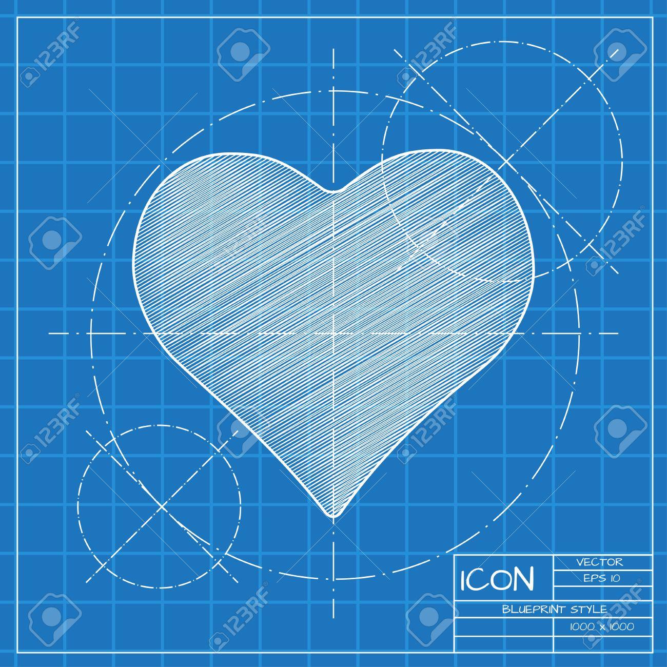 Vector blueprint isolate game heart icon engineer and architect vector vector blueprint isolate game heart icon engineer and architect background malvernweather Images
