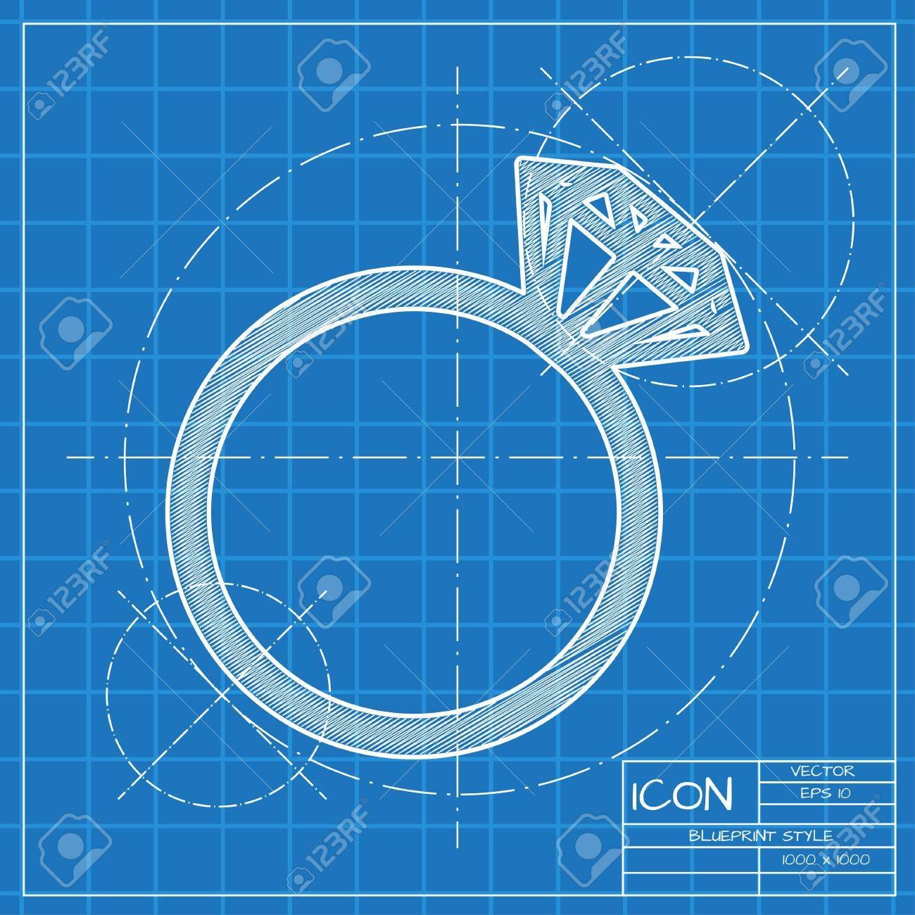 Vector blueprint wedding ring icon engineer and architect vector blueprint wedding ring icon engineer and architect background stock vector 45426053 malvernweather Gallery