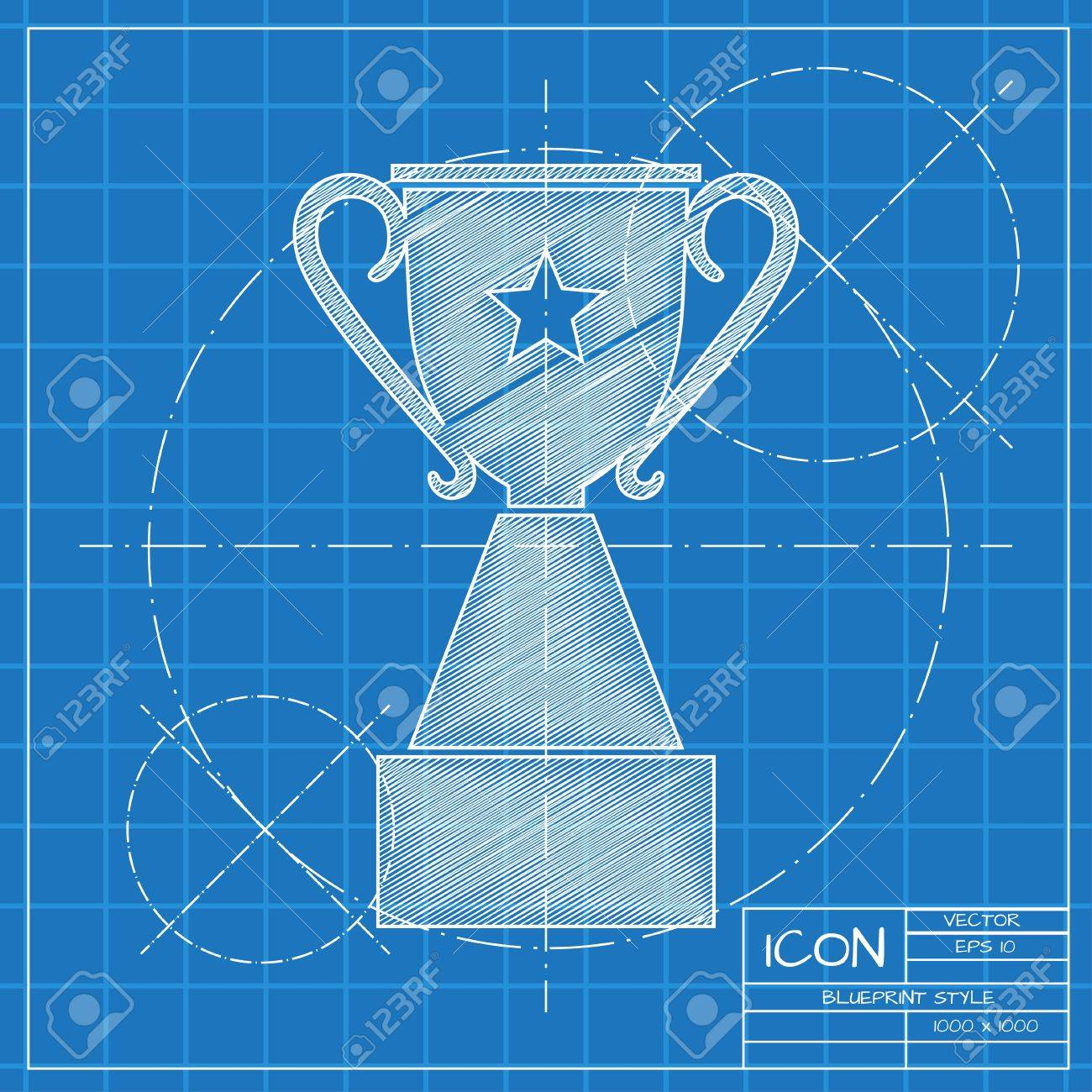 Vector blueprint trophy goblet icon on engineer or architect vector vector blueprint trophy goblet icon on engineer or architect background winner award malvernweather Gallery