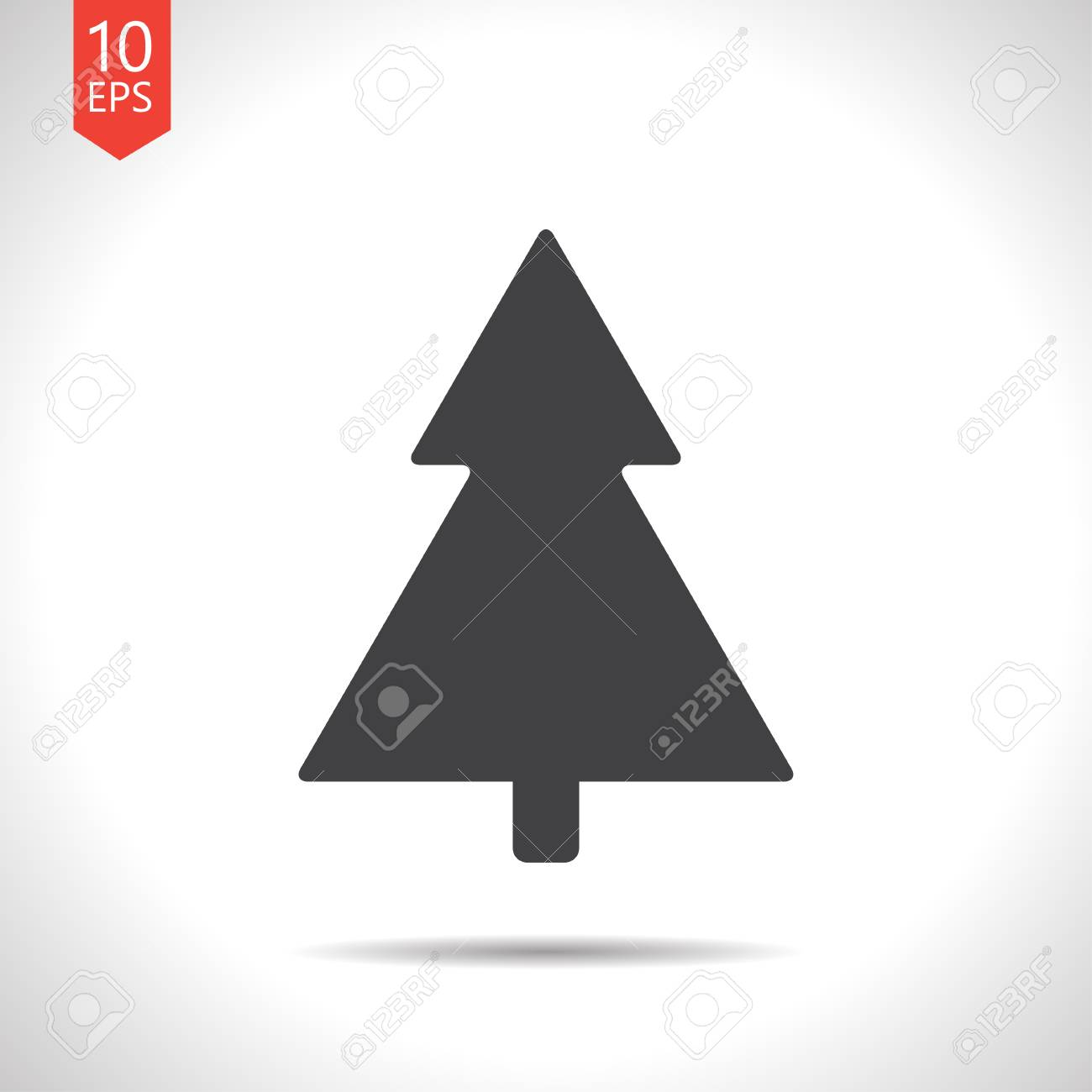 Vector Flat Black Christmas Tree Icon On White Background
