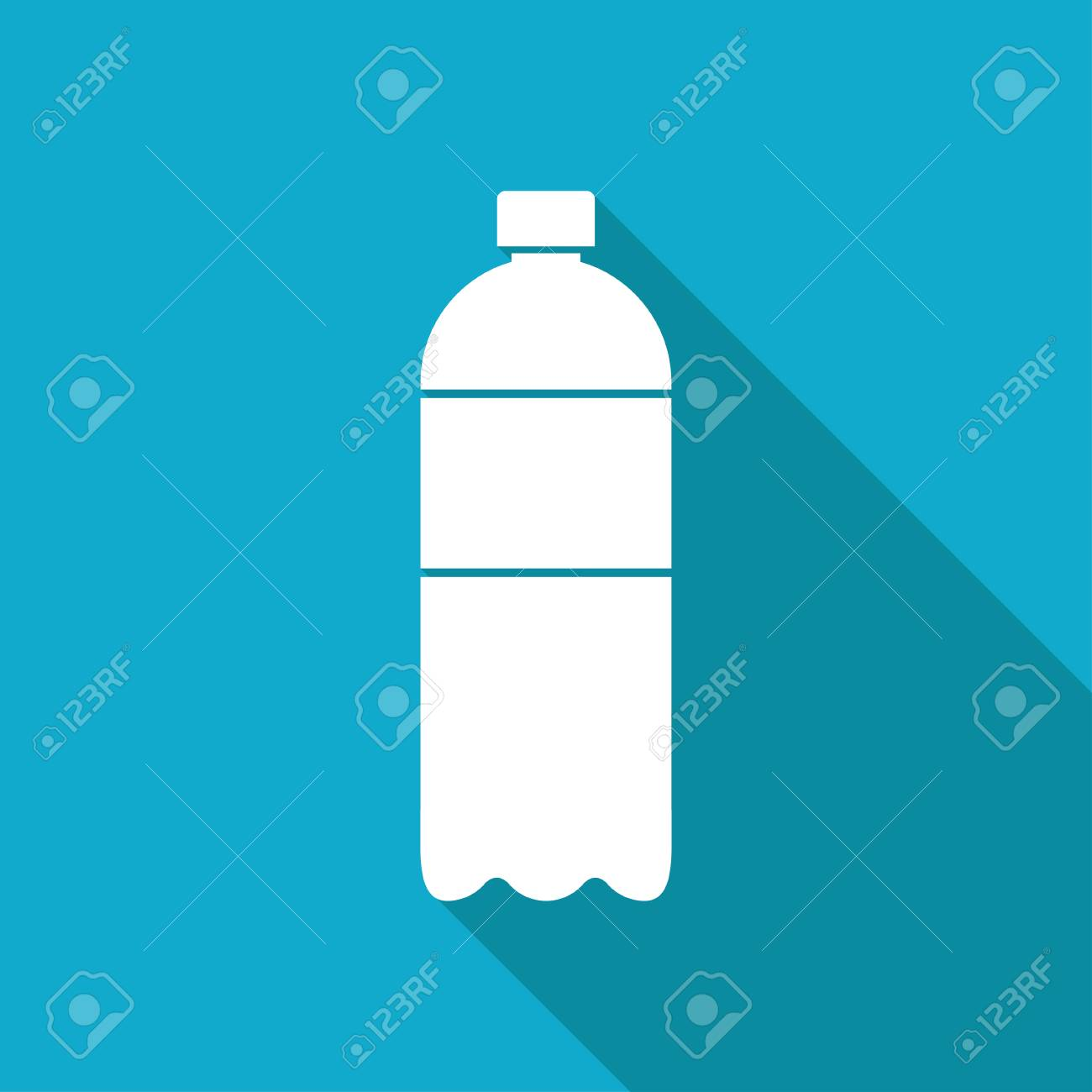Flat Water Bottle >> Vector White Flat Water Bottle On Blue Background Royalty Free