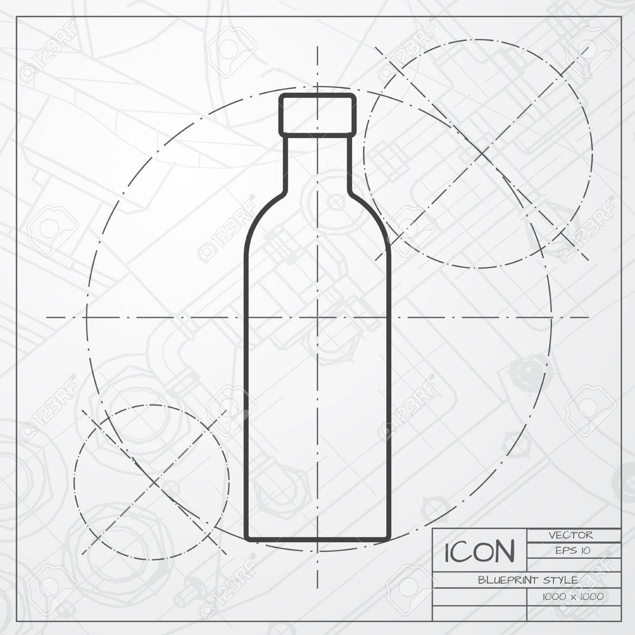 Classic blueprint of olive oil bottle template on engineer and classic blueprint of olive oil bottle template on engineer and architect background foto de archivo malvernweather Image collections