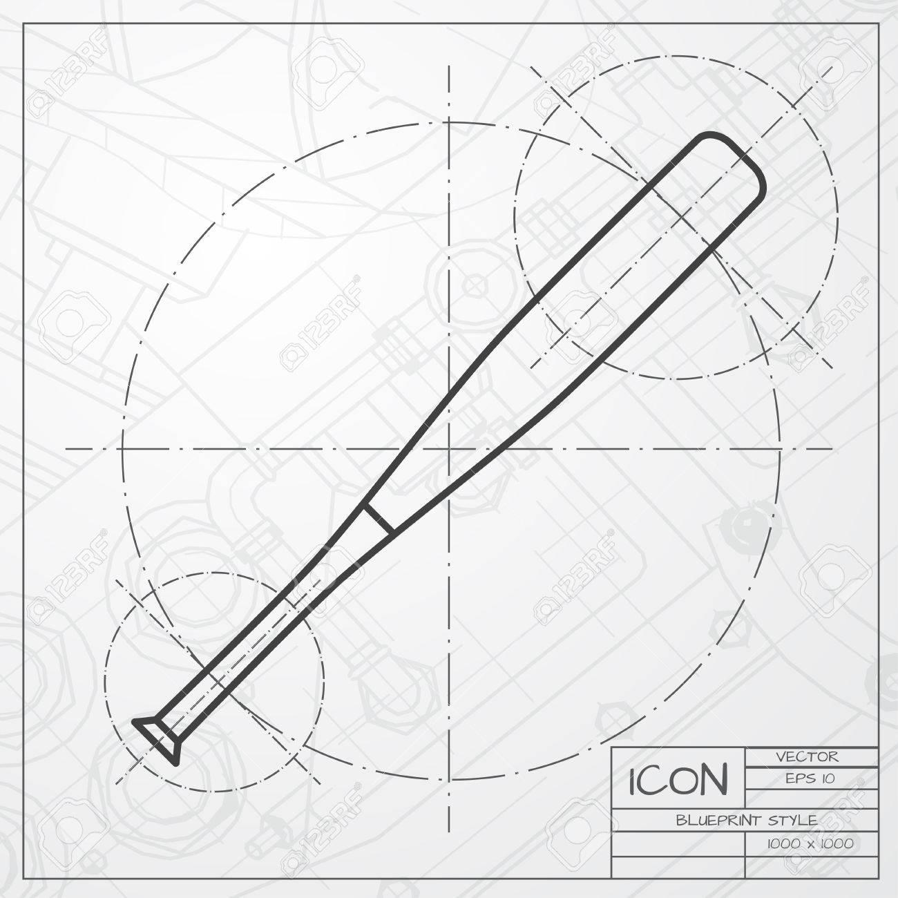 Vector classic blueprint of baseball bat icon on engineer and vector vector classic blueprint of baseball bat icon on engineer and architect background malvernweather Image collections