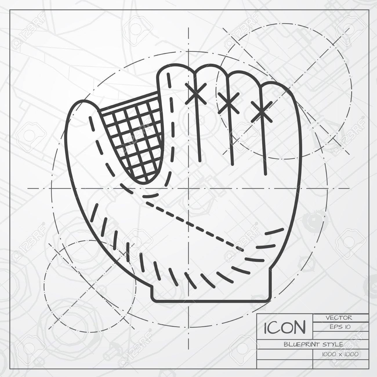 Vector classic blueprint of baseball glove icon on engineer and vector vector classic blueprint of baseball glove icon on engineer and architect background malvernweather Gallery