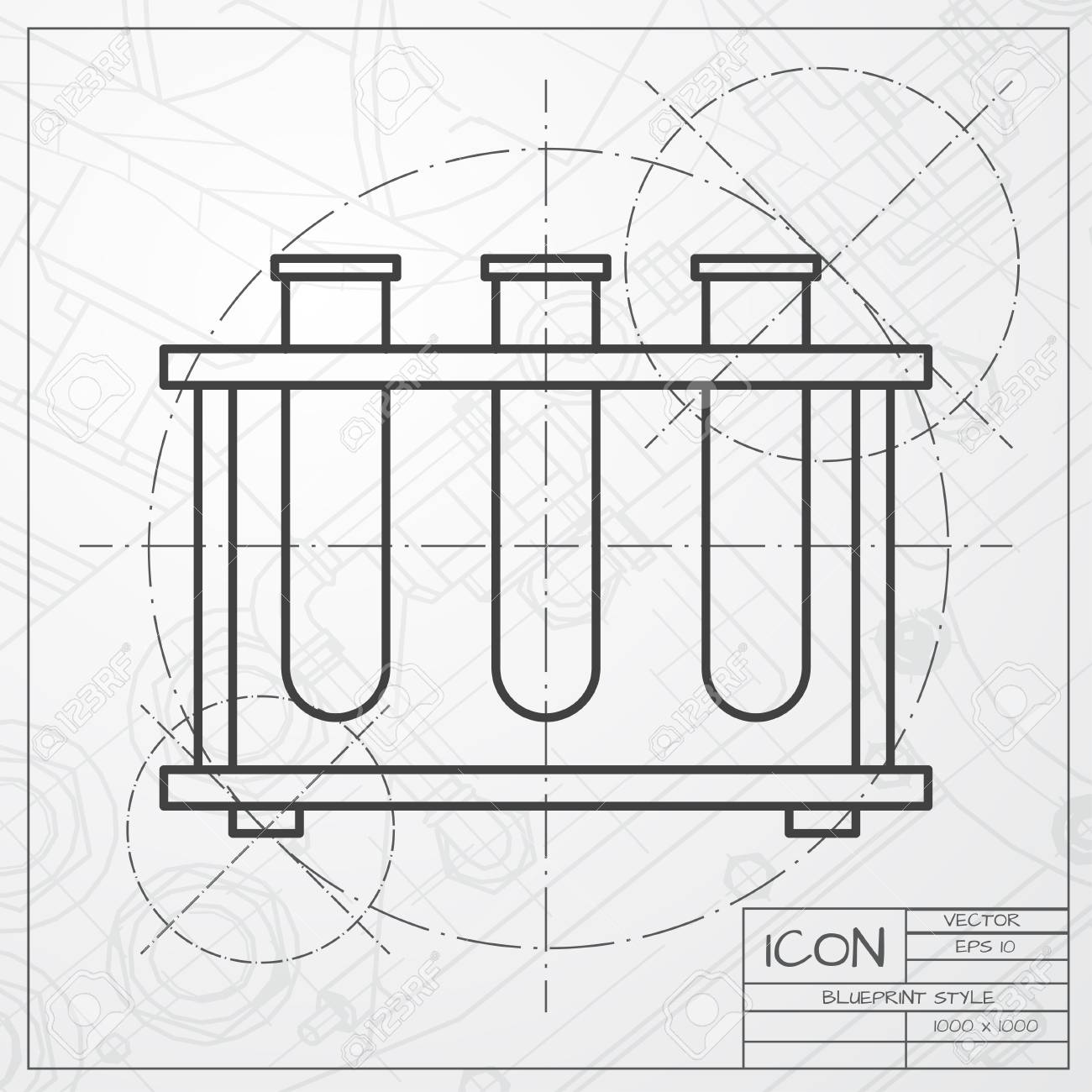 Vector classic blueprint of test tube icon on engineer and architect vector vector classic blueprint of test tube icon on engineer and architect background malvernweather Image collections
