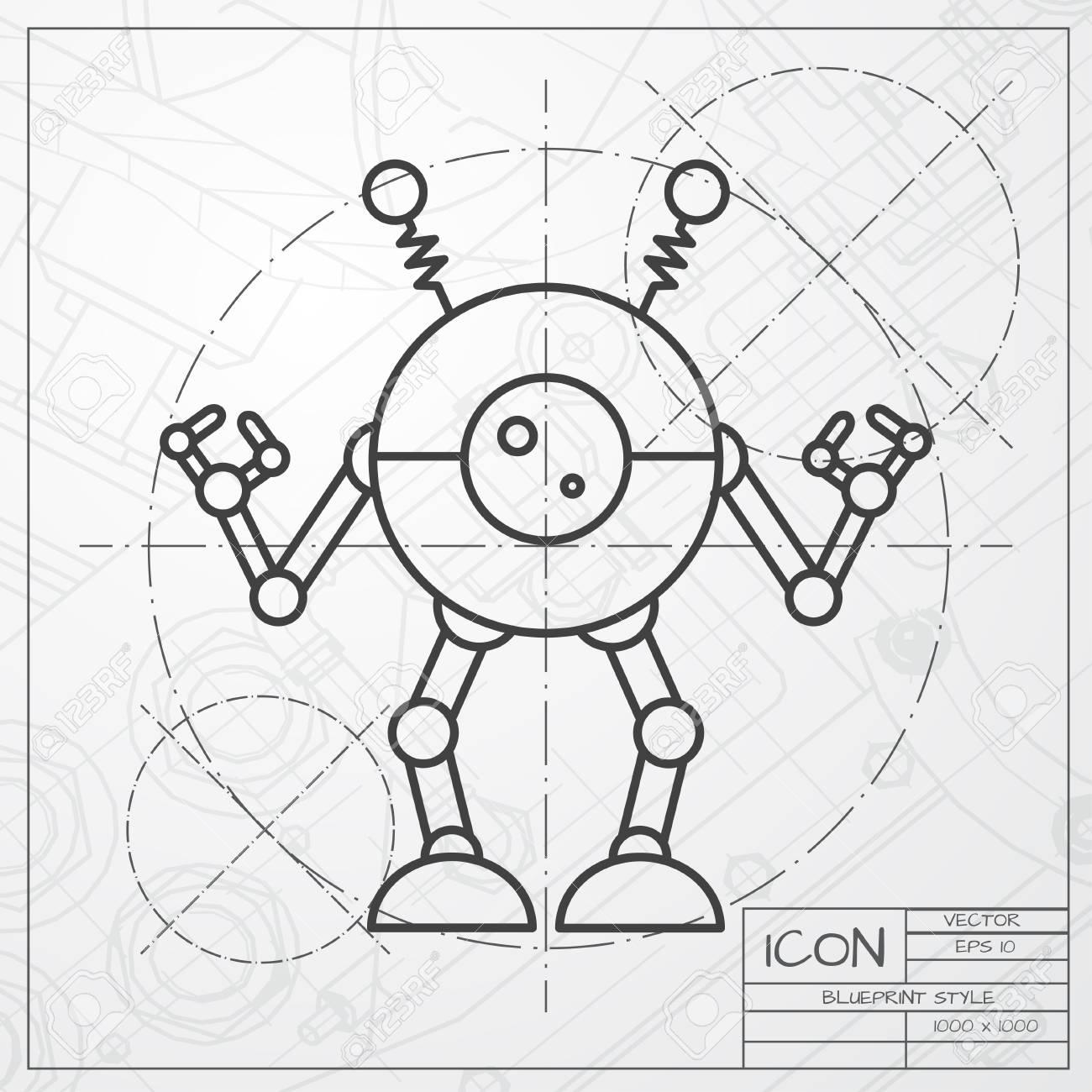 Vector Classic Blueprint Of Retro Robot Toy Icon On Engineer ...