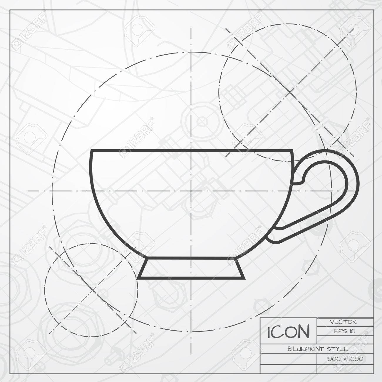 Vector classic blueprint of cup for tea or coffee icon on engineer vector vector classic blueprint of cup for tea or coffee icon on engineer and architect background malvernweather Images