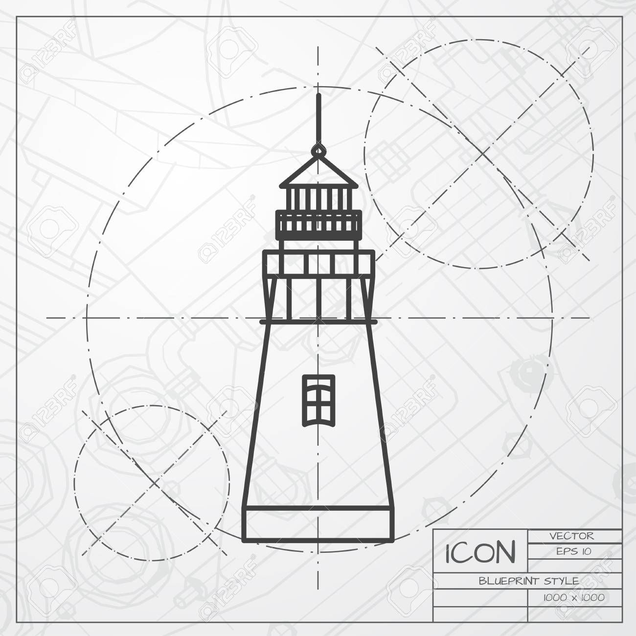 Vector classic blueprint of lighthouse icon on engineer and vector vector classic blueprint of lighthouse icon on engineer and architect background malvernweather Images
