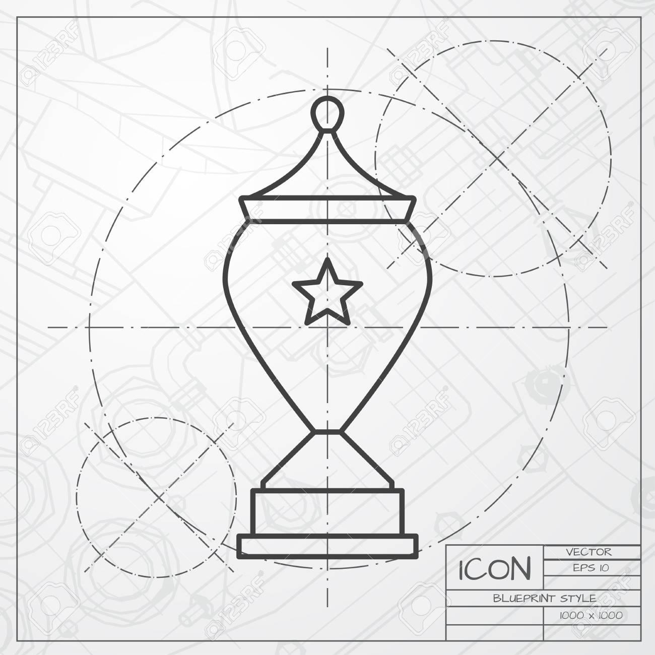 Vector classic blueprint of trophy goblet icon on engineer and vector vector classic blueprint of trophy goblet icon on engineer and architect background winner award malvernweather Gallery