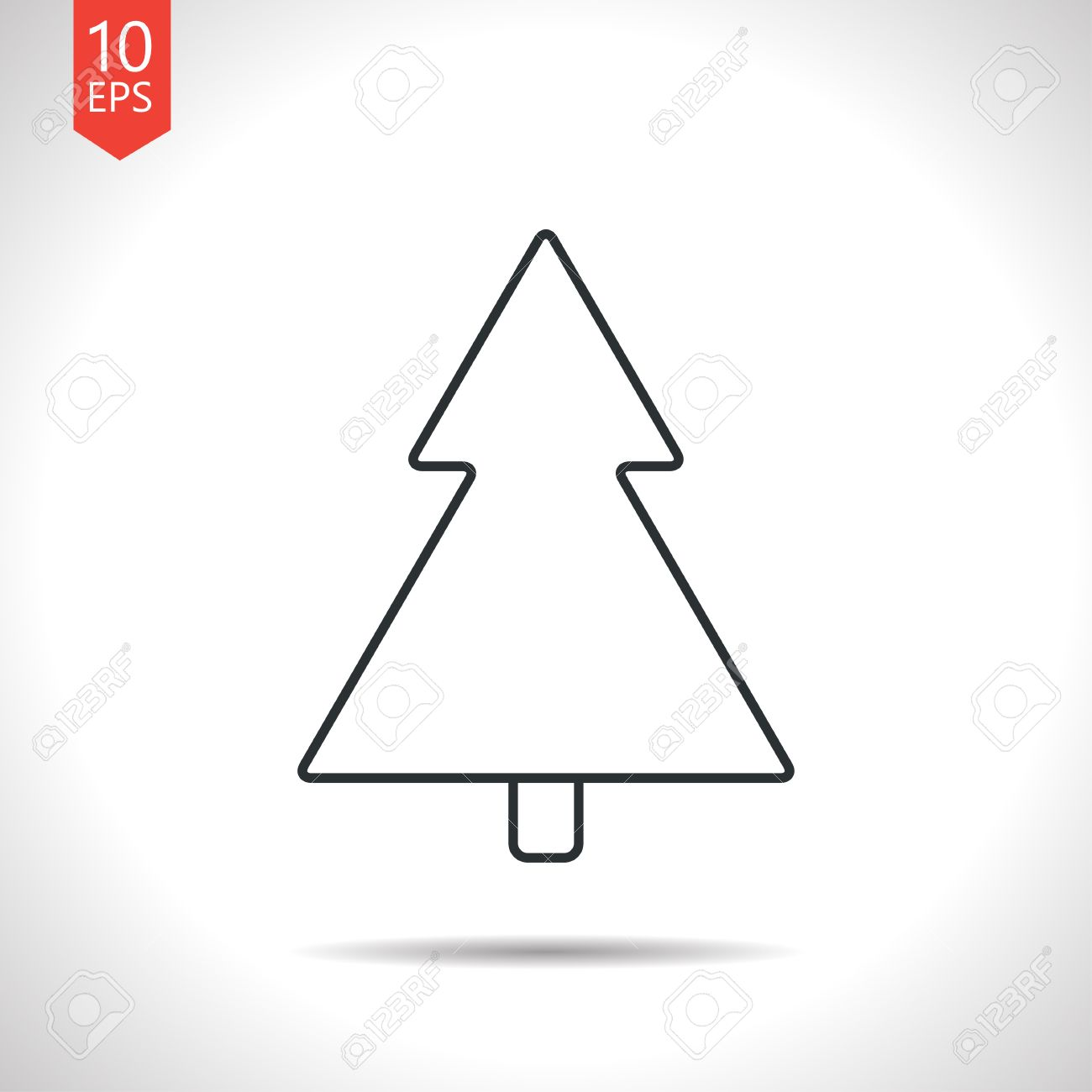 Grey Christmas Tree Vector Outline Classic Grey Christmas Tree Icon On White