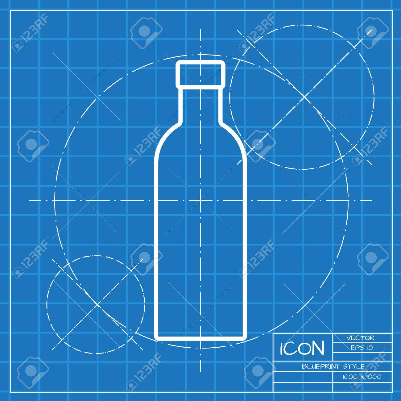 Vector classic blueprint of olive oil bottle template on engineer vector vector classic blueprint of olive oil bottle template on engineer and architect background malvernweather Image collections
