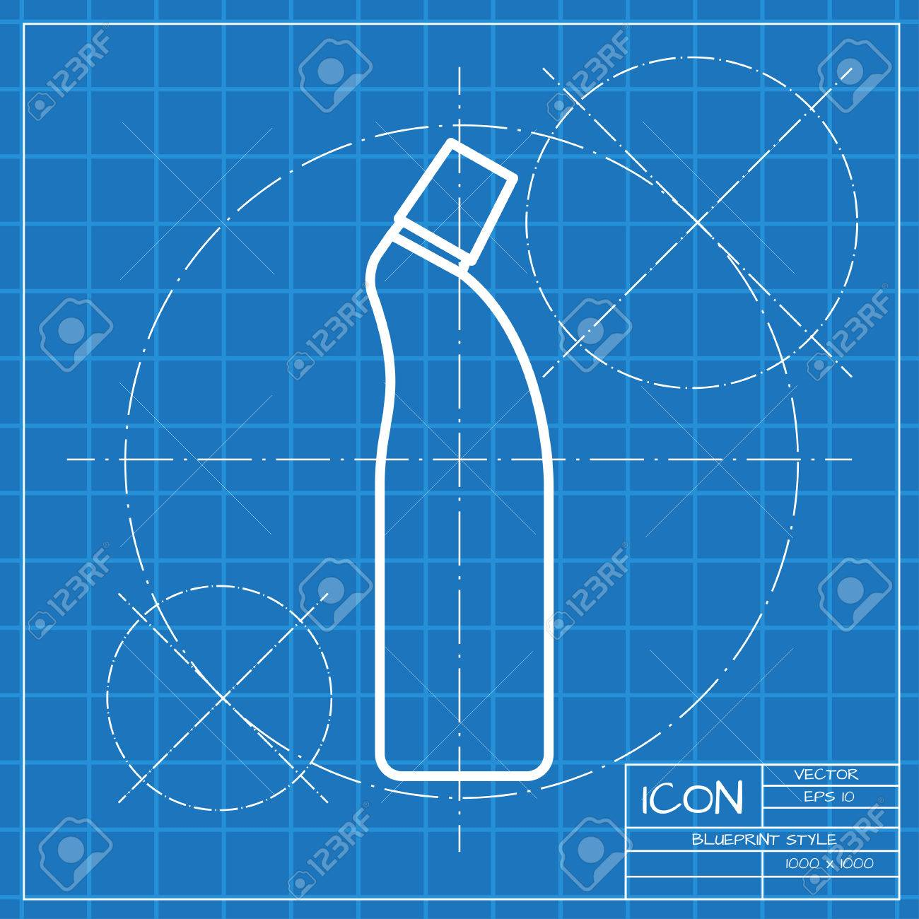 Vector classic blueprint of cleaner bottle for bathroom kitchen vector classic blueprint of cleaner bottle for bathroom kitchen toilet on engineer and architect malvernweather Choice Image