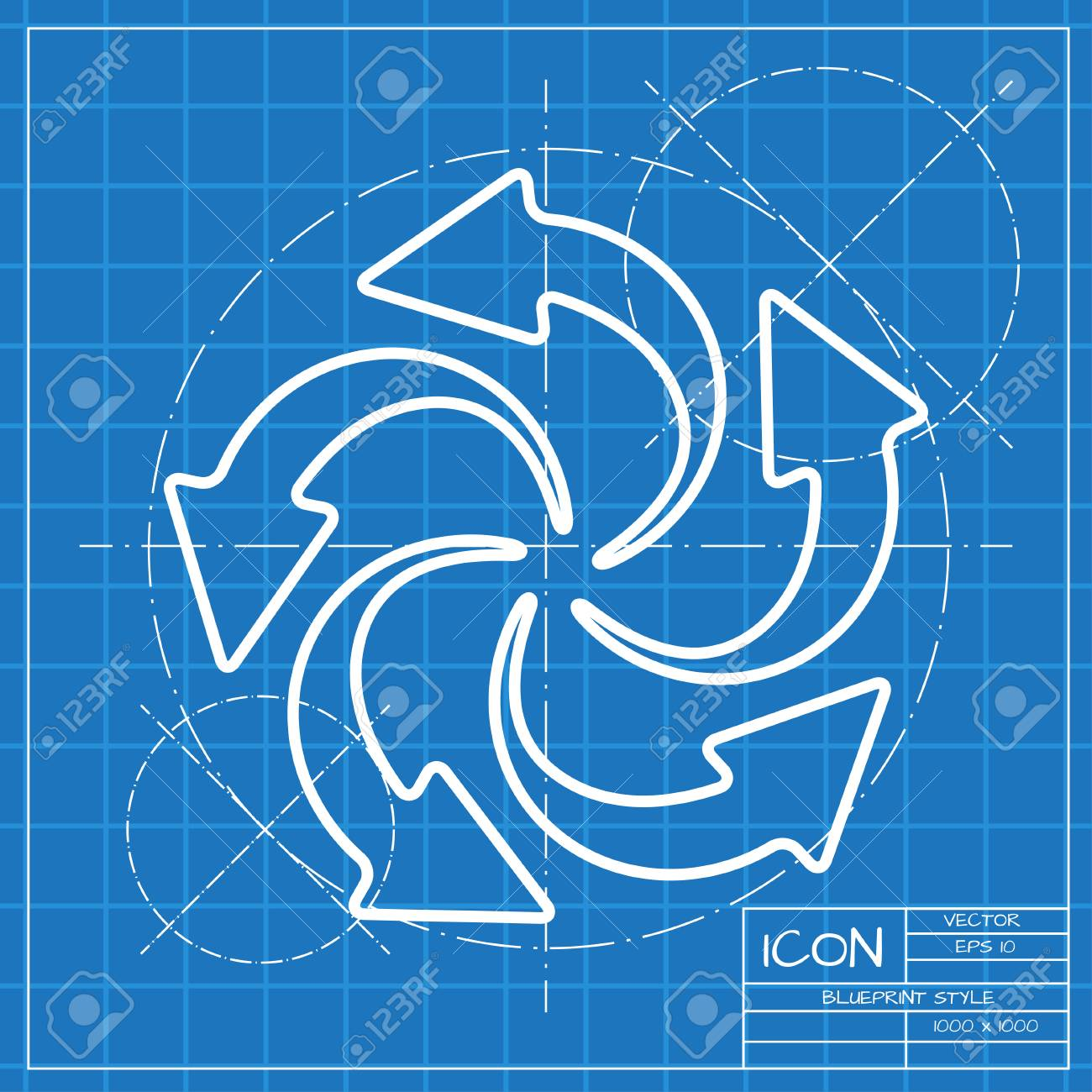 Vector classic blueprint of circle round arrows for business vector vector classic blueprint of circle round arrows for business diagram on engineer and architect background malvernweather Gallery