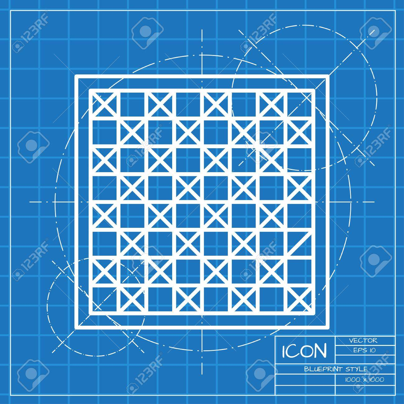 Vector classic blueprint of checkers board icon on engineer and vector vector classic blueprint of checkers board icon on engineer and architect background malvernweather Image collections