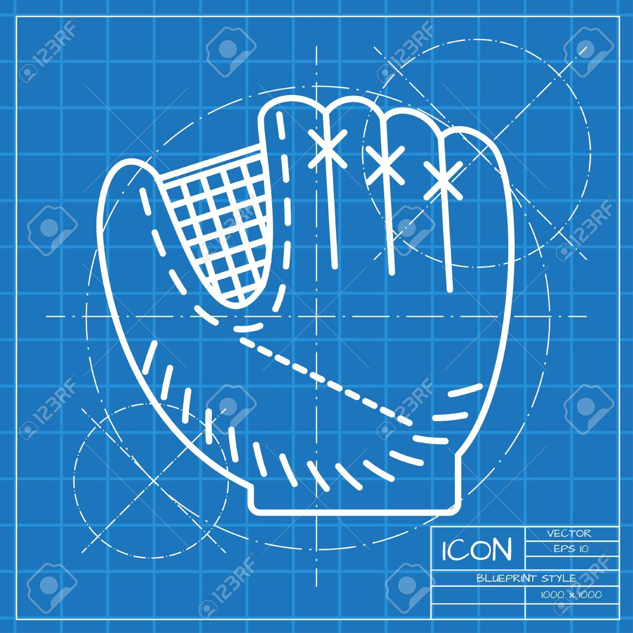 Vector classic blueprint of baseball glove icon on engineer and vector classic blueprint of baseball glove icon on engineer and architect background stock vector 48356716 malvernweather Image collections