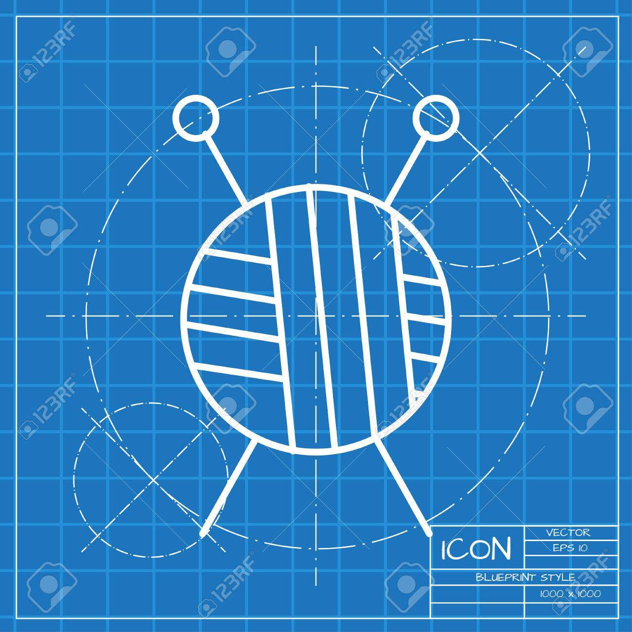 Vector classic blueprint of tailor ravel ball of yarn for knitting stock photo vector classic blueprint of tailor ravel ball of yarn for knitting icon on engineer and architect background malvernweather Image collections