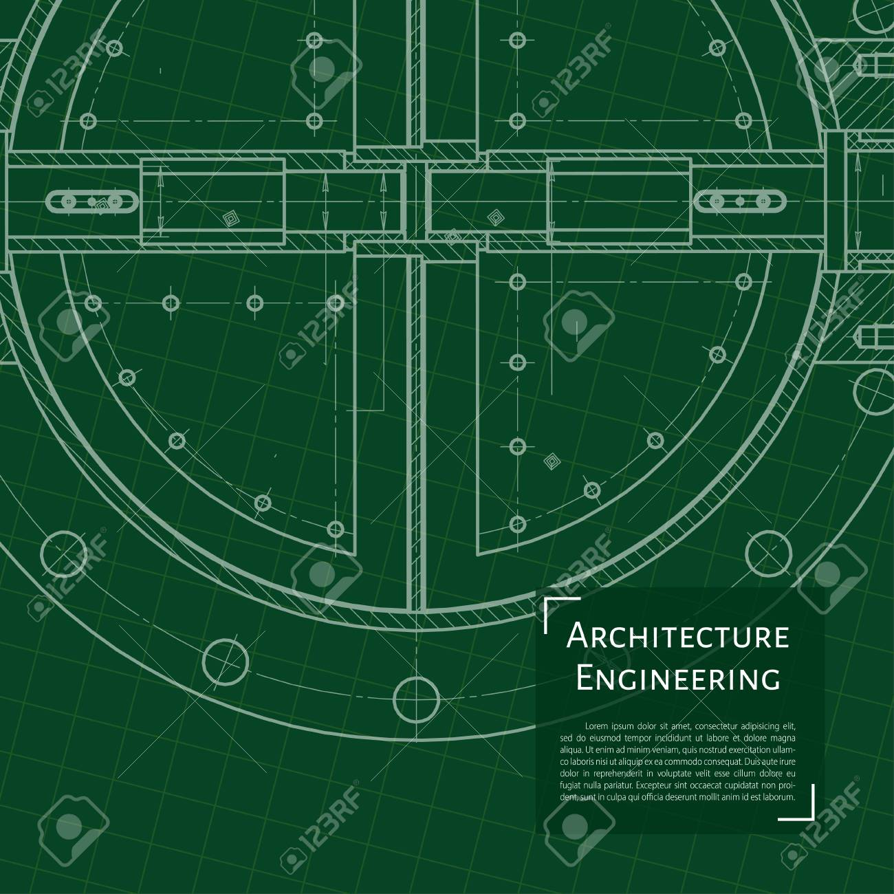 Vector Vector Technical Blueprint Of Mechanism Engineer Illustration