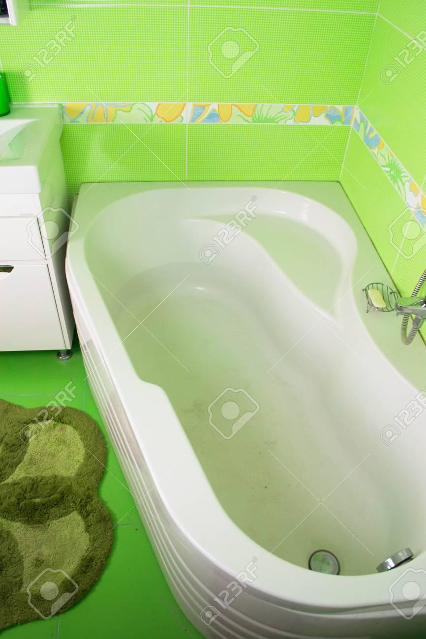 Green Bathroom Interior. Corner Bath Stock Photo, Picture And ...
