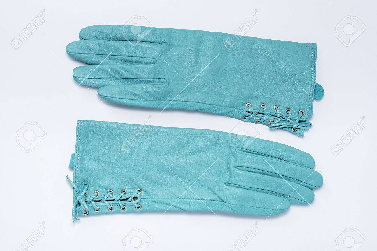 Ladies leather gloves blue - Ladies Leather Gloves Turquoise Stock Photo 25679097