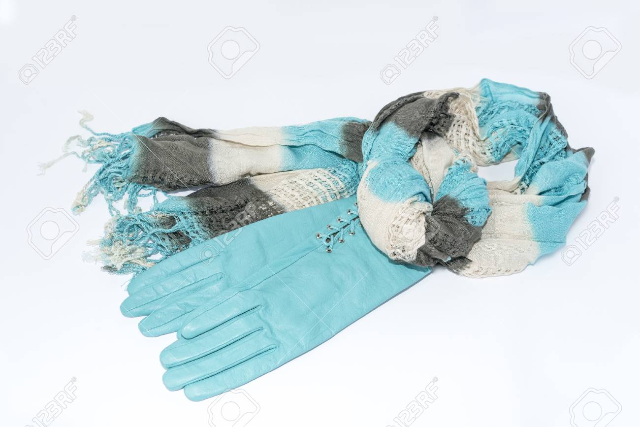 Womens leather gloves teal - Stock Photo Women S Scarf And Leather Gloves