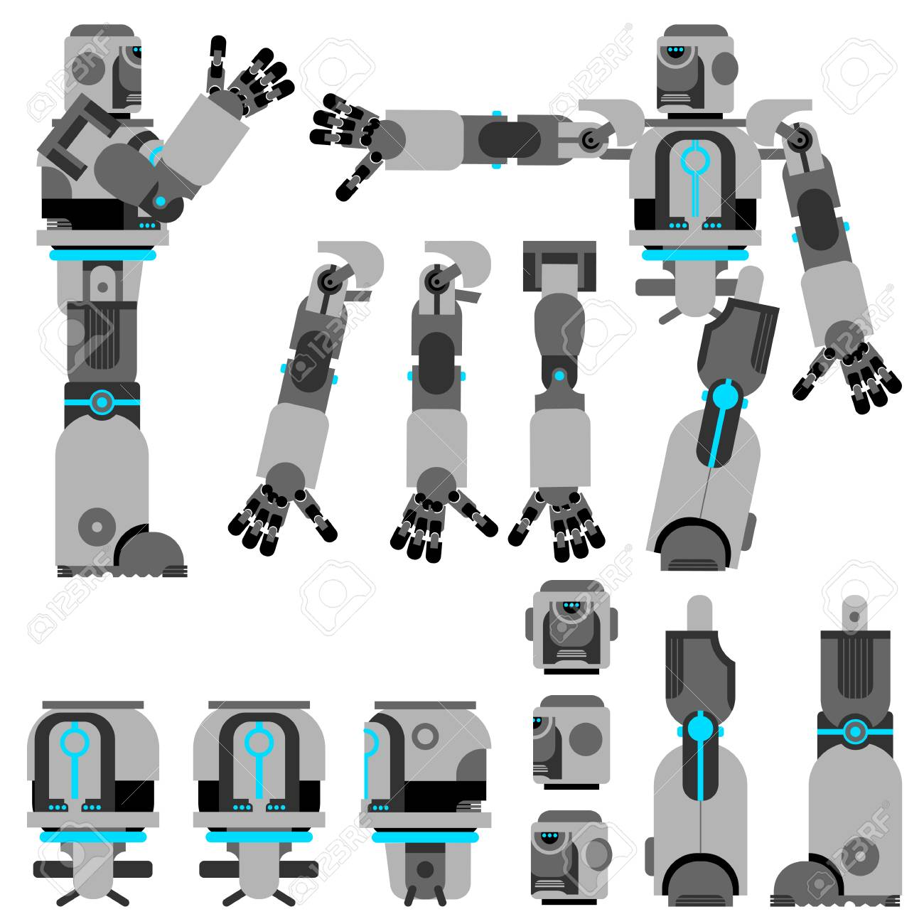 Cartoon gray robot with additional parts which are turned in