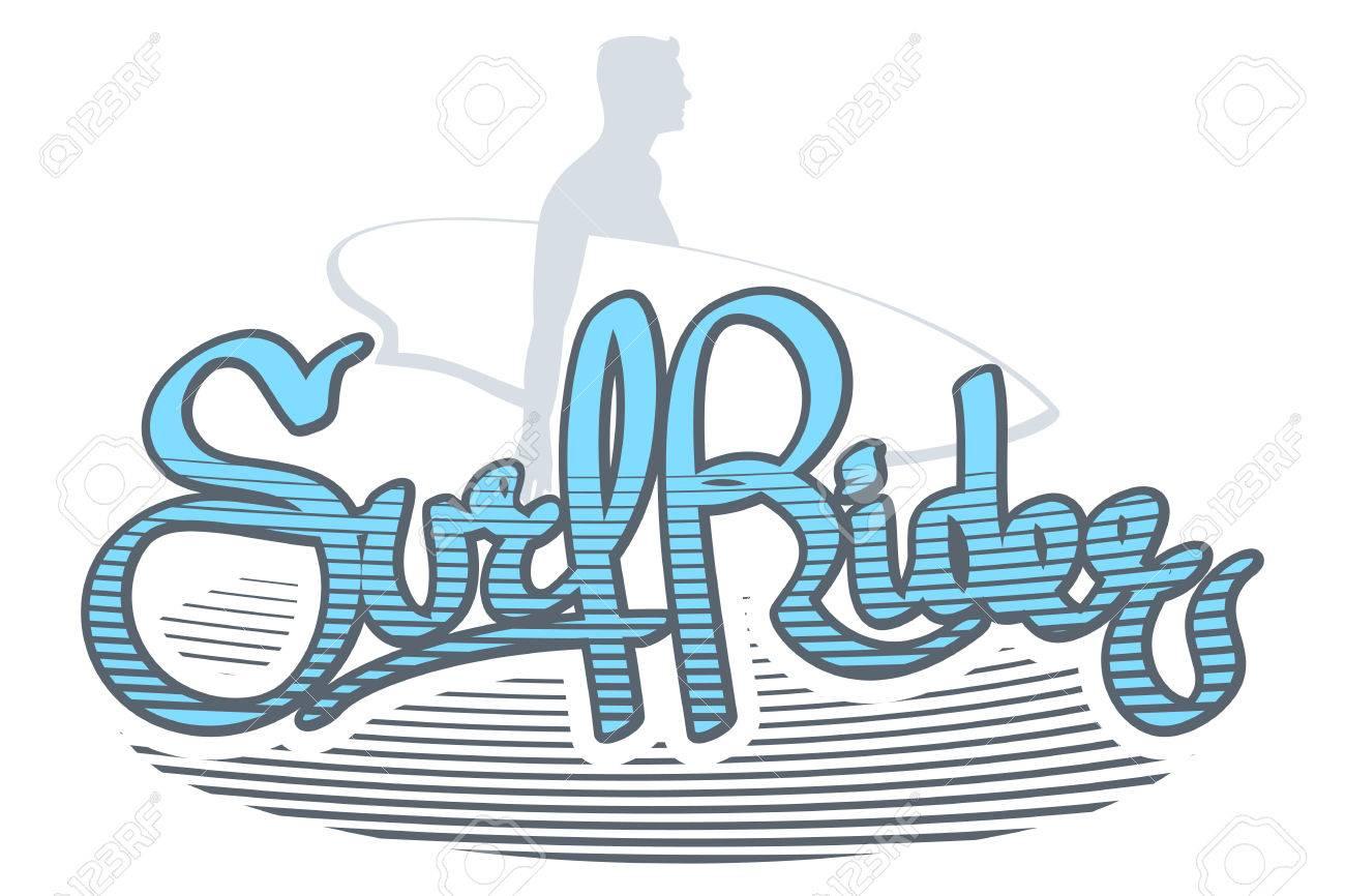 3bd8d13d03fae Foto de archivo - Ilustración vectorial en el tema de surf. Ilustraciones  del logotipo del jinete de la resaca. Tipografía del sello