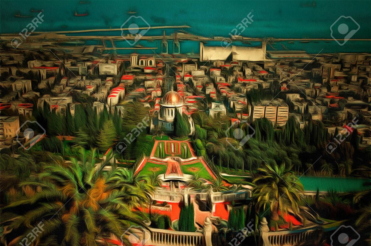 View Of Haifa From The Bahai Garden Drawing Filter Stock Photo ...