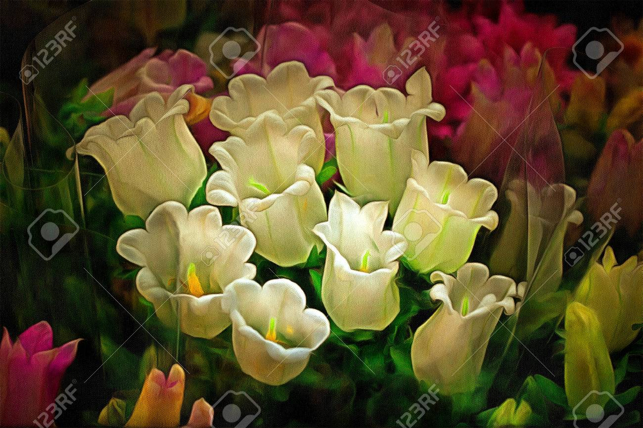 Colorful Variety Of Flowers Sold In The Market Drawing Filter Stock